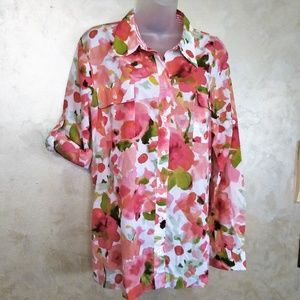 Jones New York Roll Sleeve Cotton Blouse Like New